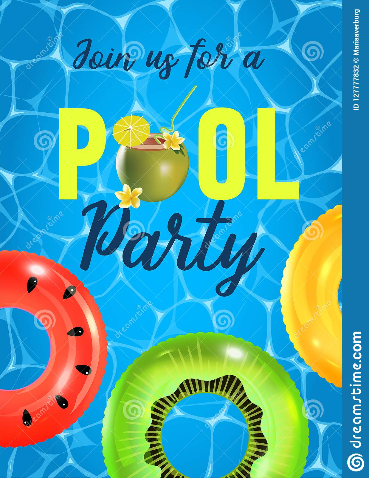 Pool Party Invitation Vector Illustration. Top View Of ...