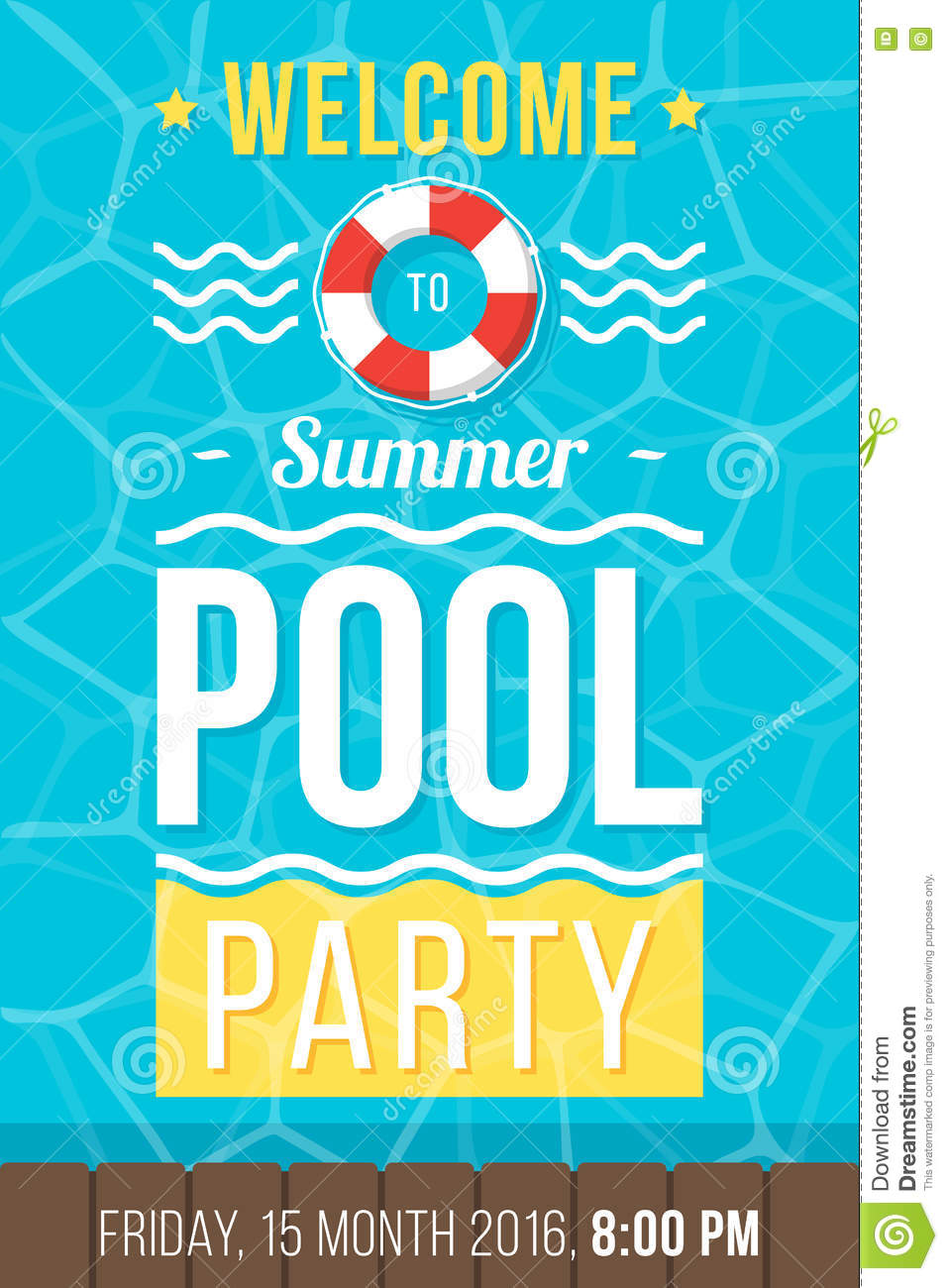 pool party poster stock vector illustration of card 76248630