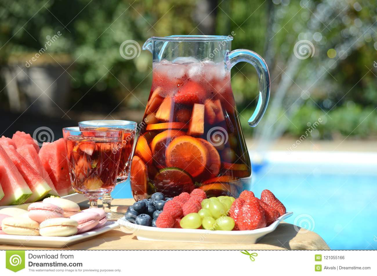 Pool Party With Sangria And Cold Alcoholic Cocktails By The Swimming Pool Stock Photo Image Of Fruit Drinks 121055166