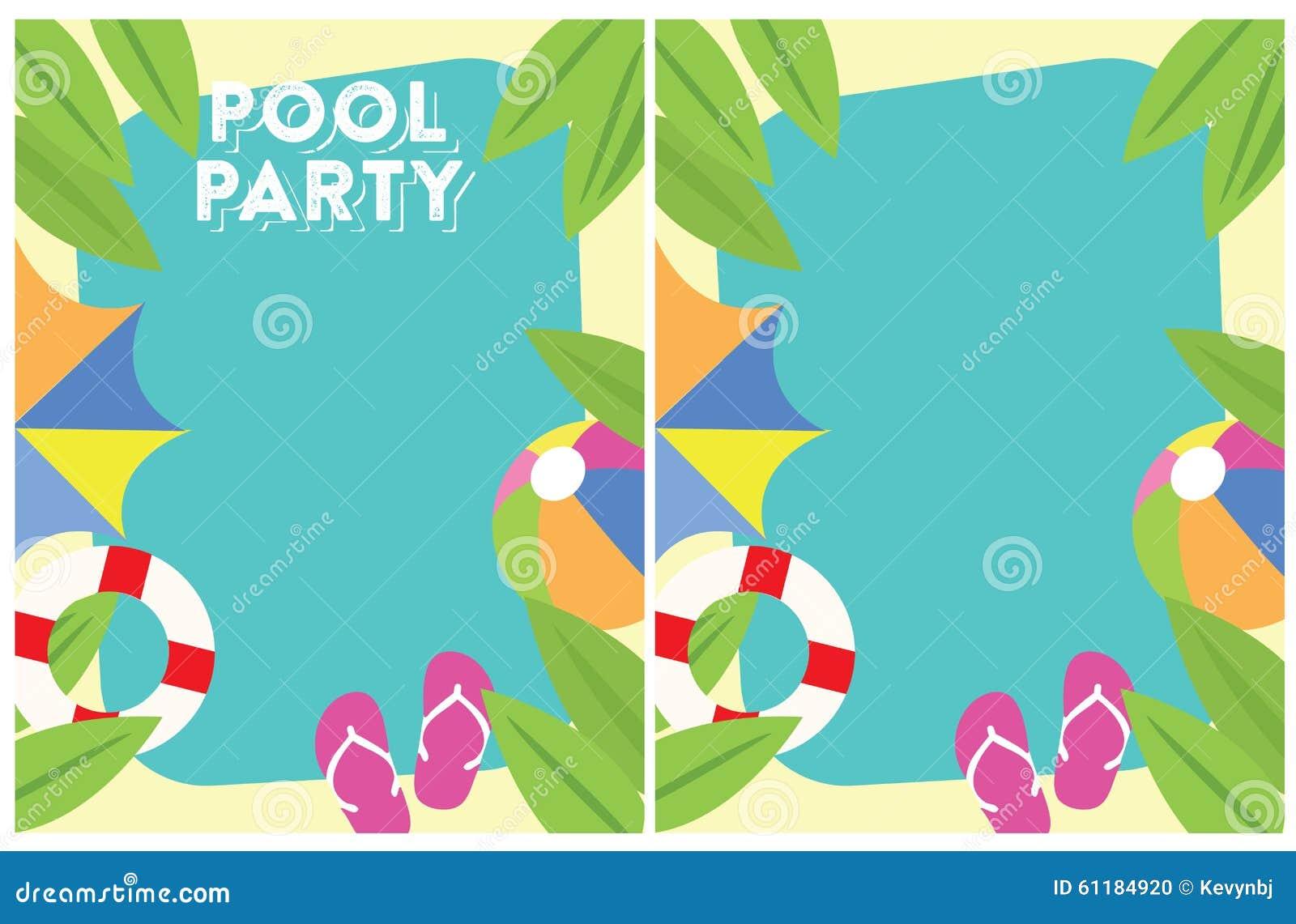 Pool-Party-Einladung vektor abbildung. Illustration von sonne - 62332528