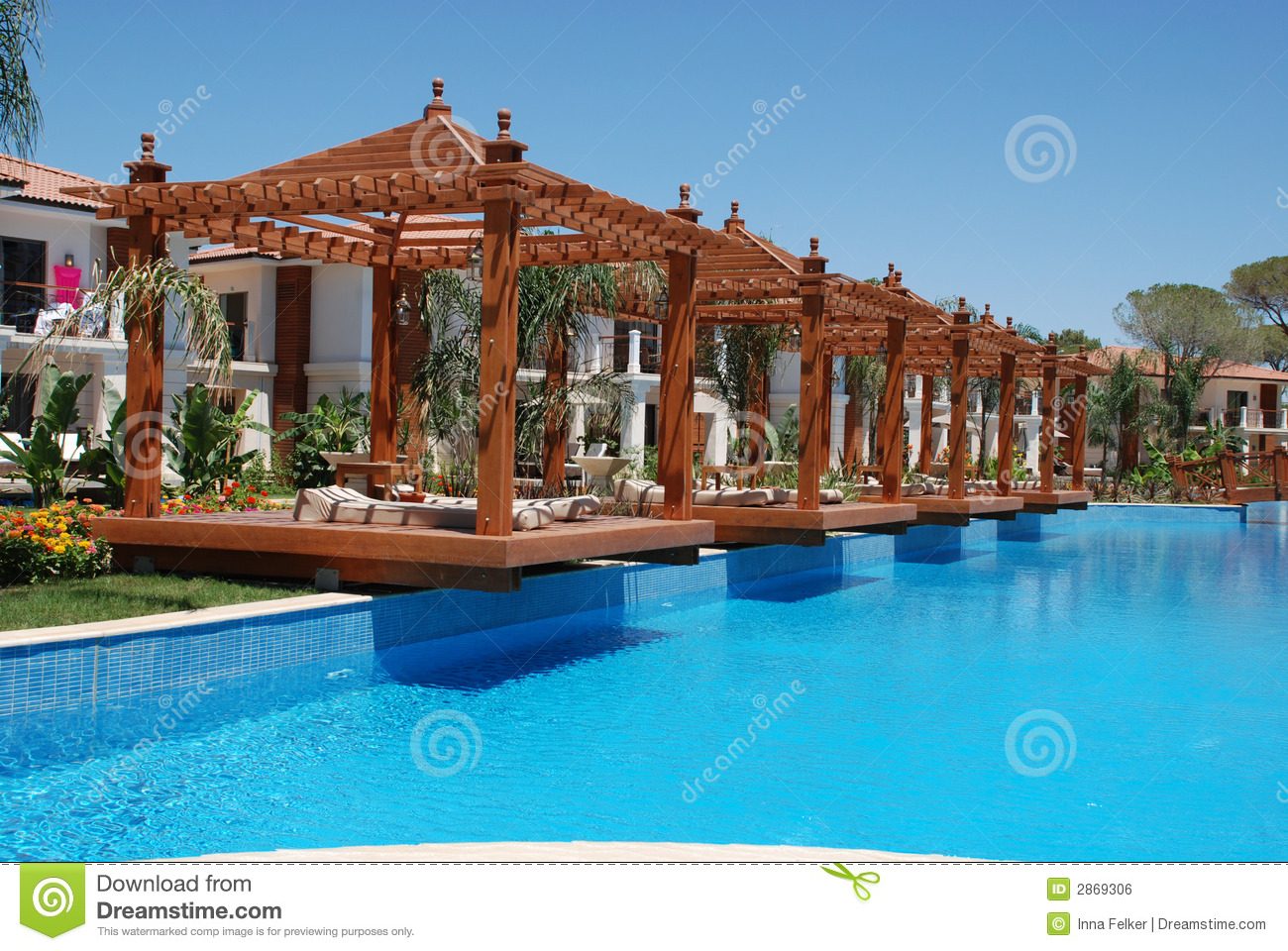 Pool And Pergola Stock Photo Image Of Landscape Heat