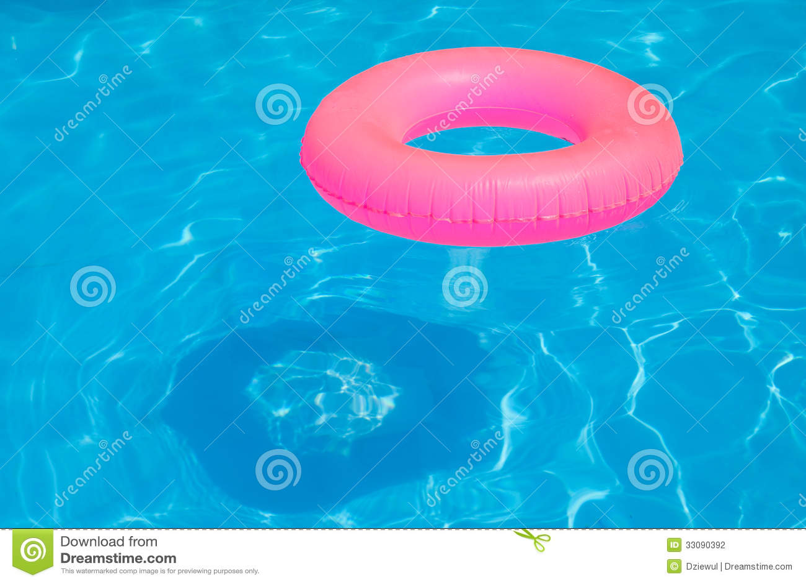 Pink Pool Float Pool Ring In Cool Blue Refreshing Blue Pool