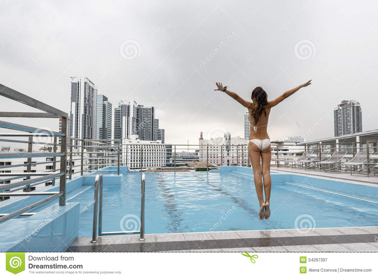 Pool On A Roof Stock Photo