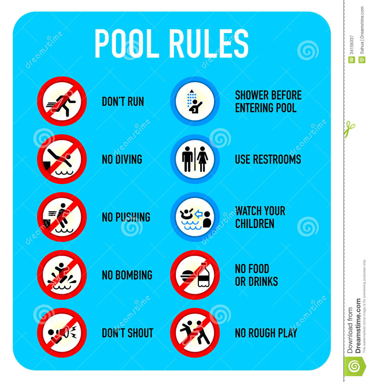 Pool Rules Signs Stock Vector Illustration Of Risk Activity 34156337