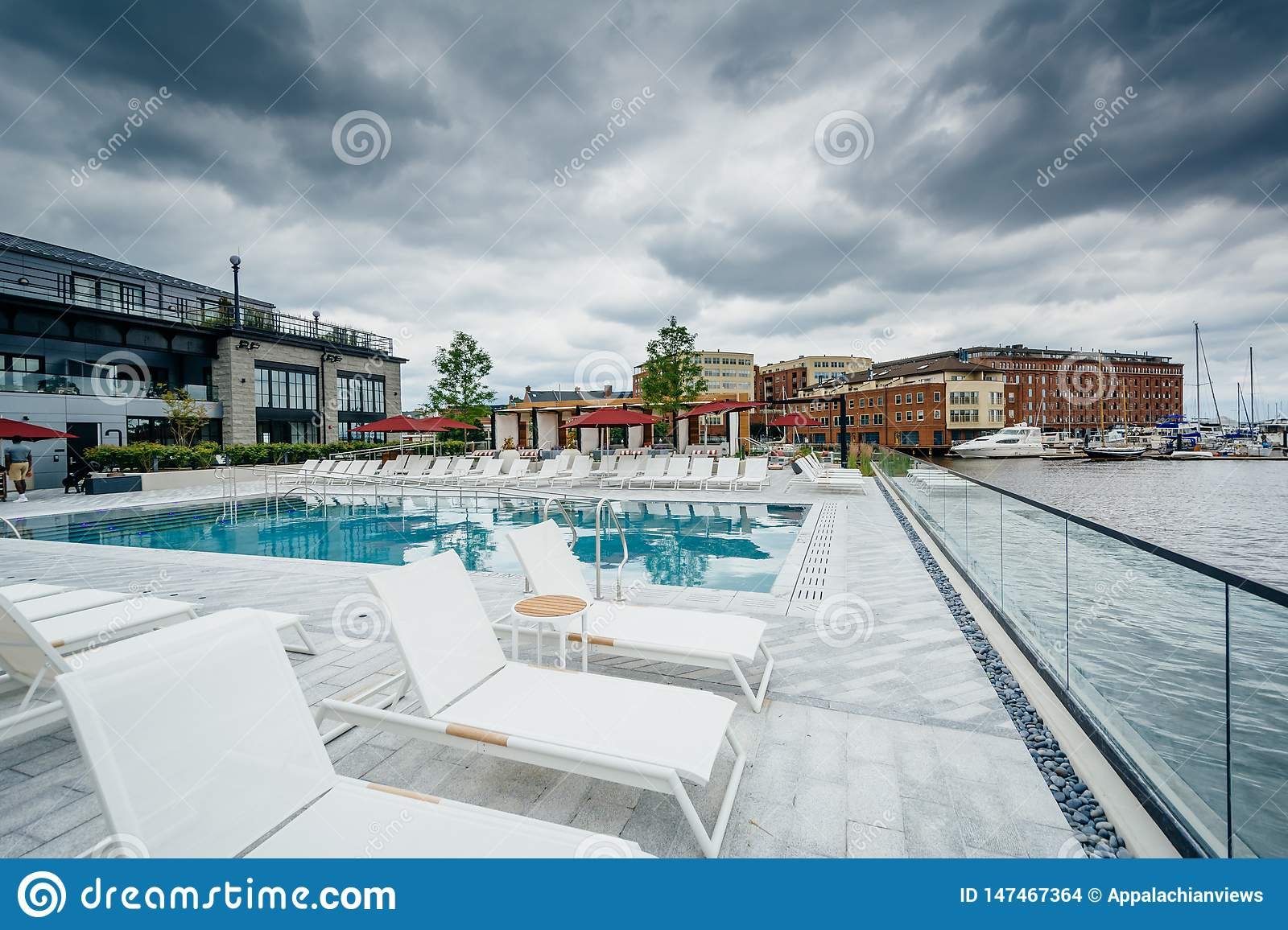 The pool at the Sagamore Pendry Hotel in Fells Point, Baltimore, Maryland