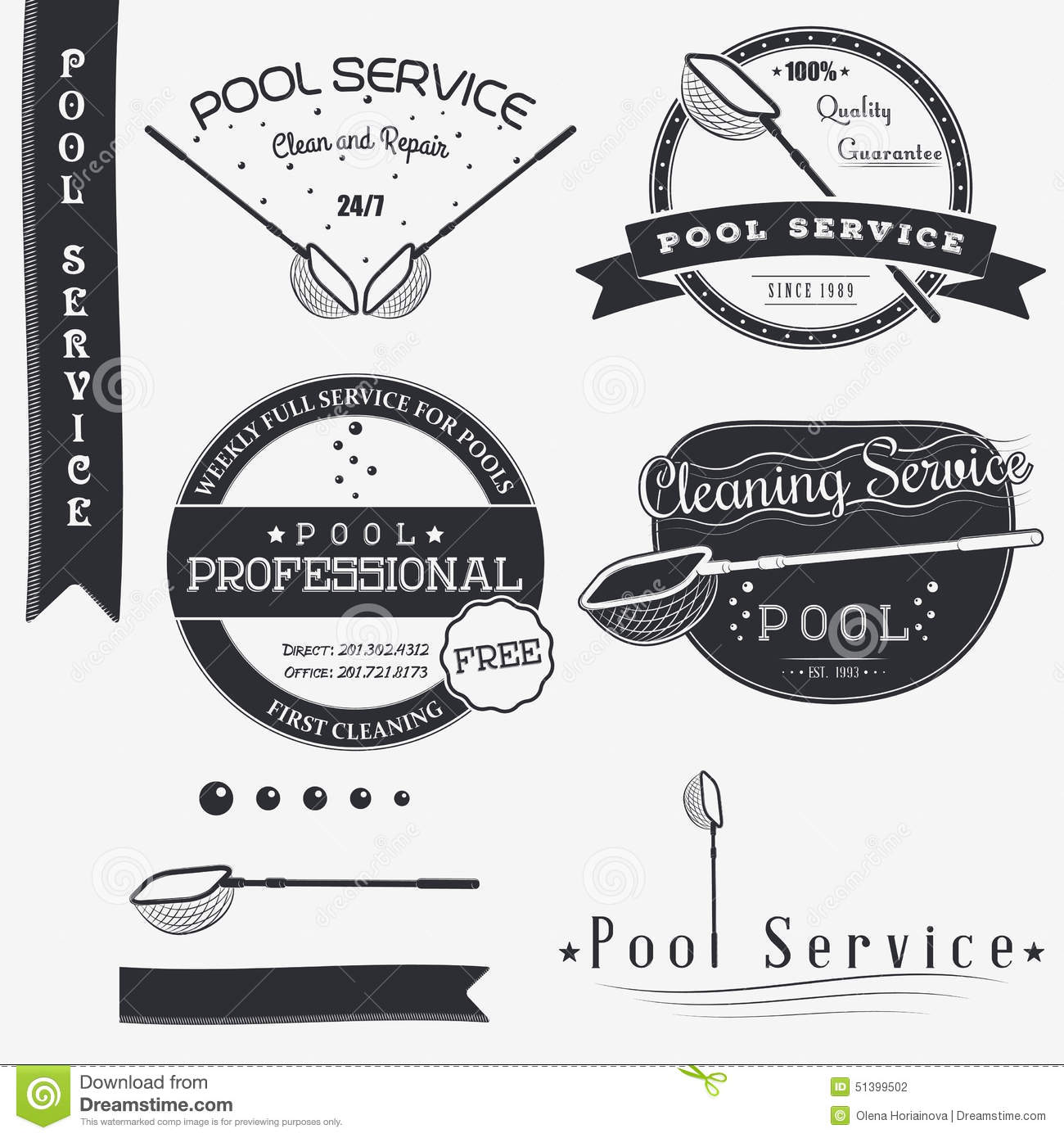 Swimming Pool Cleaning Symbols : Pool service clean and repair set of typographic cartoon