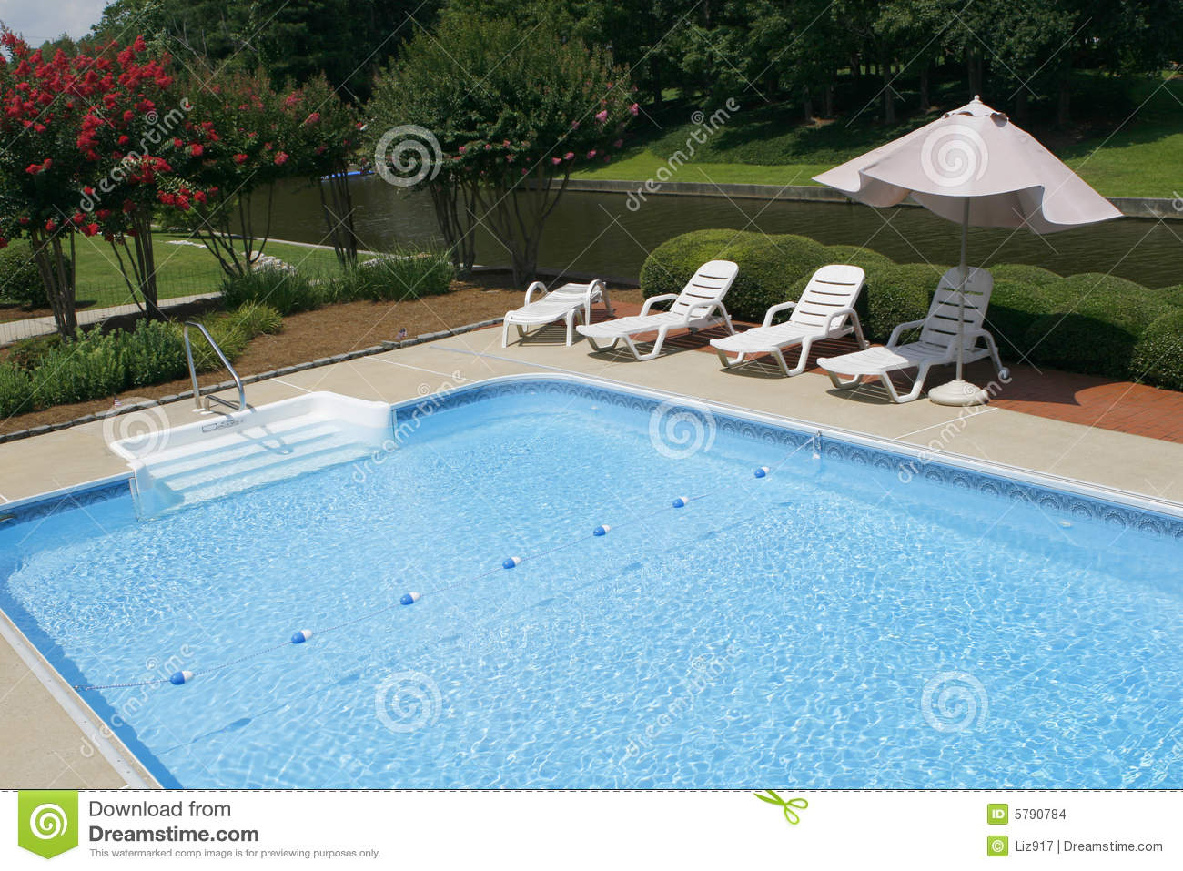 Terrific Pool Side With Lounge Chairs And Umbrella Stock Photo Ncnpc Chair Design For Home Ncnpcorg