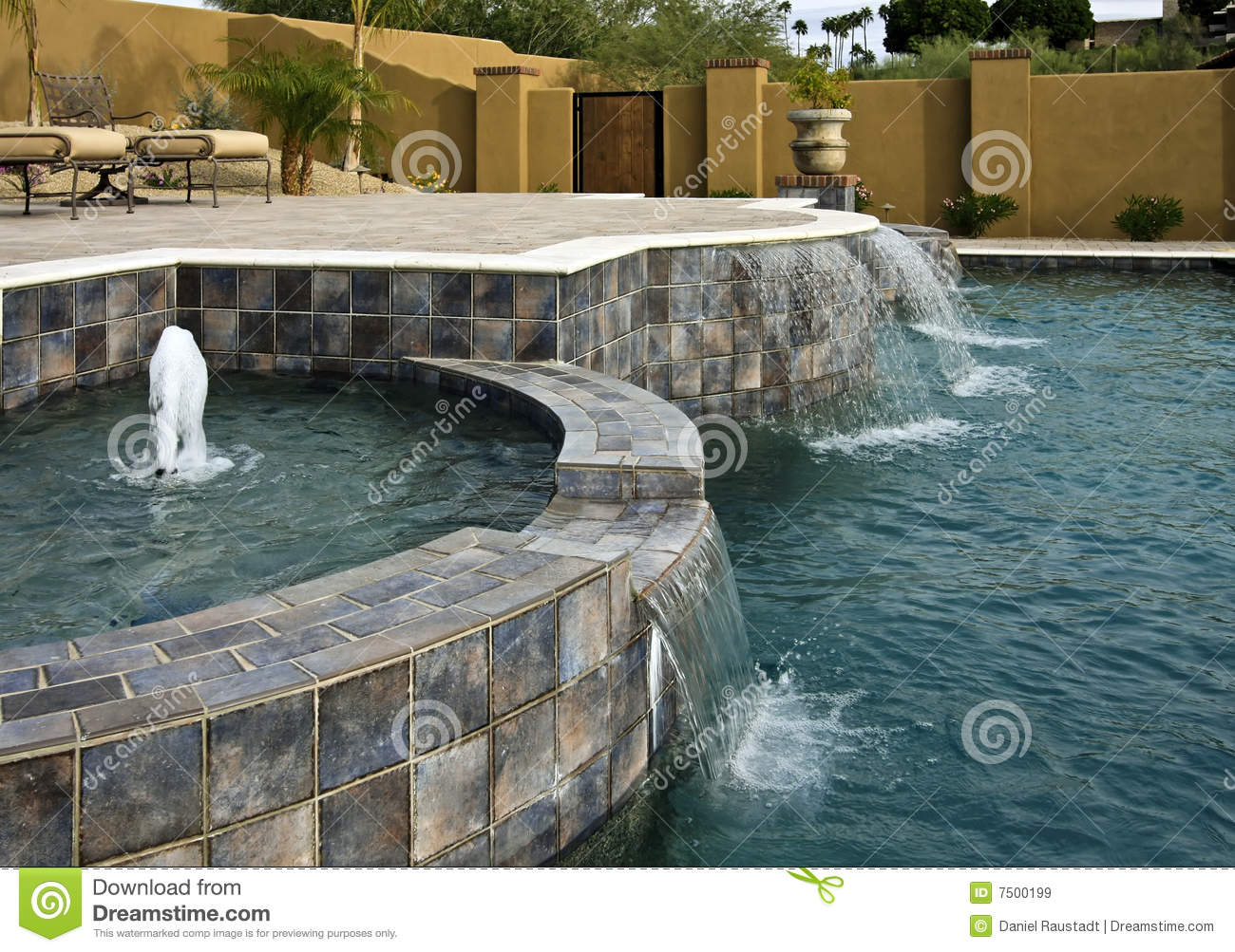 Pool Spa Fountains And Waterfalls Stock Image Image Of Blue
