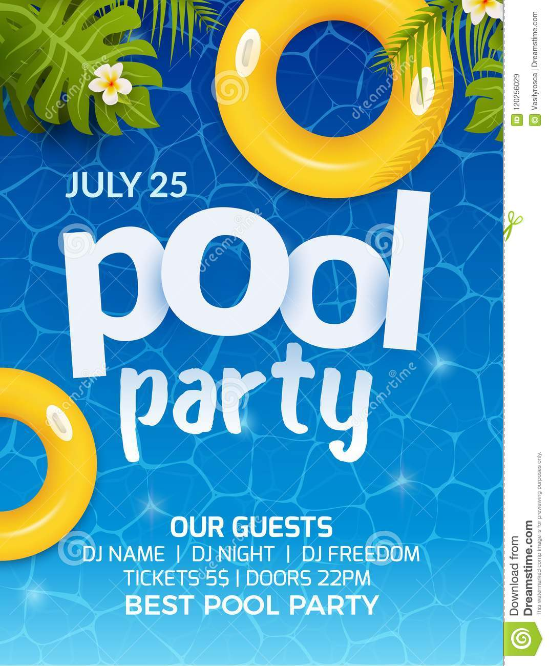 Pool Summer Party Invitation Banner Flyer Design Water And Palm