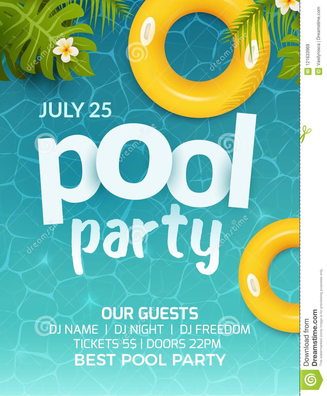 Pool summer party invitation banner flyer design water and palm pool summer party invitation banner flyer design water and palm inflatable yellow mattress pool party template poster maxwellsz