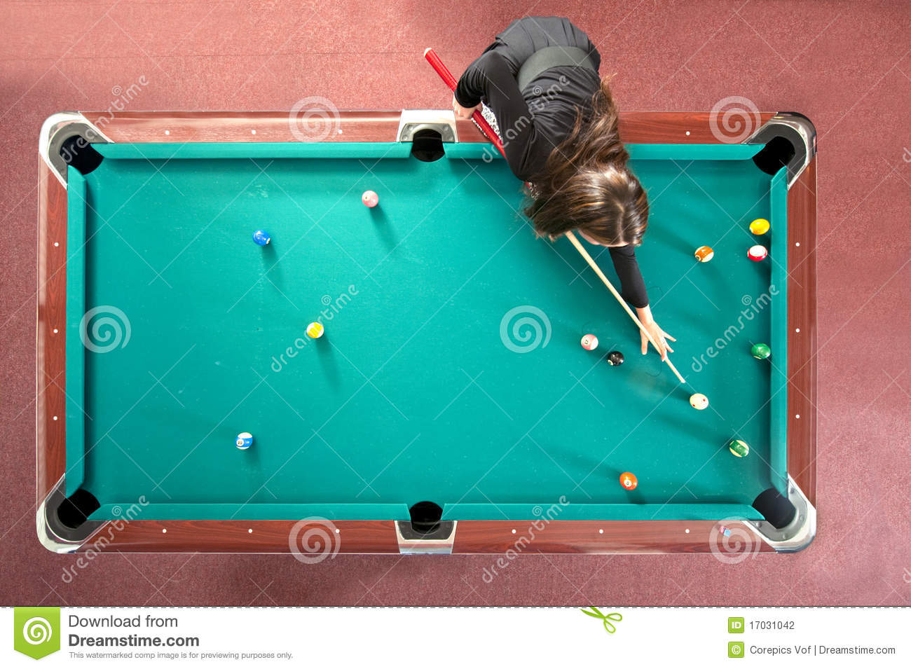 Pool Table From Above Stock Photo Image Of Chalk