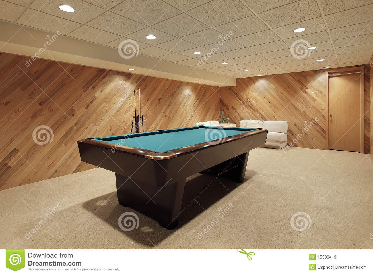 Pool Table In Basement Stock Image Image Of Elegant