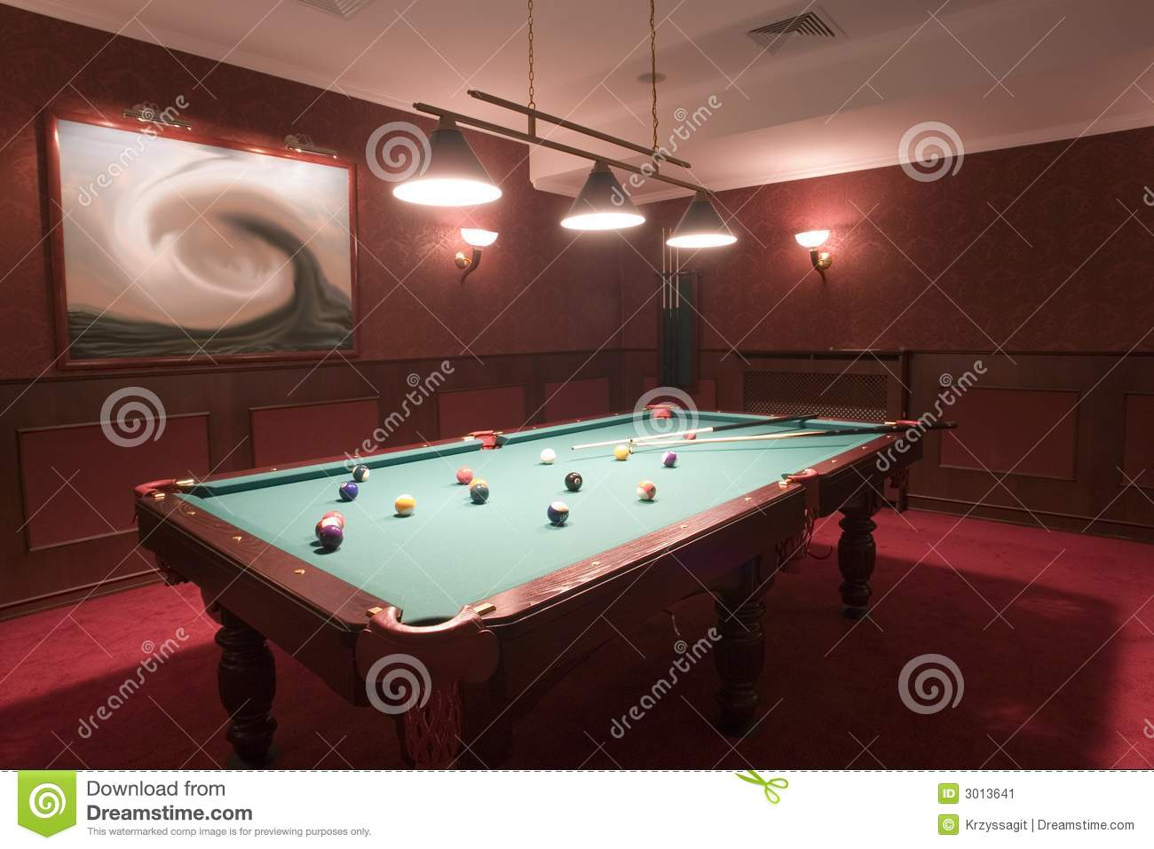 Lovely Pool Table In Elegant Red Room