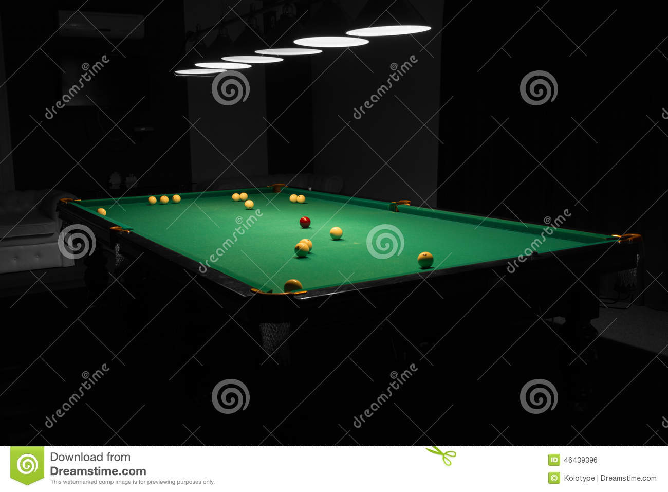 Pool Table Balls Scattered Pool Table In E...