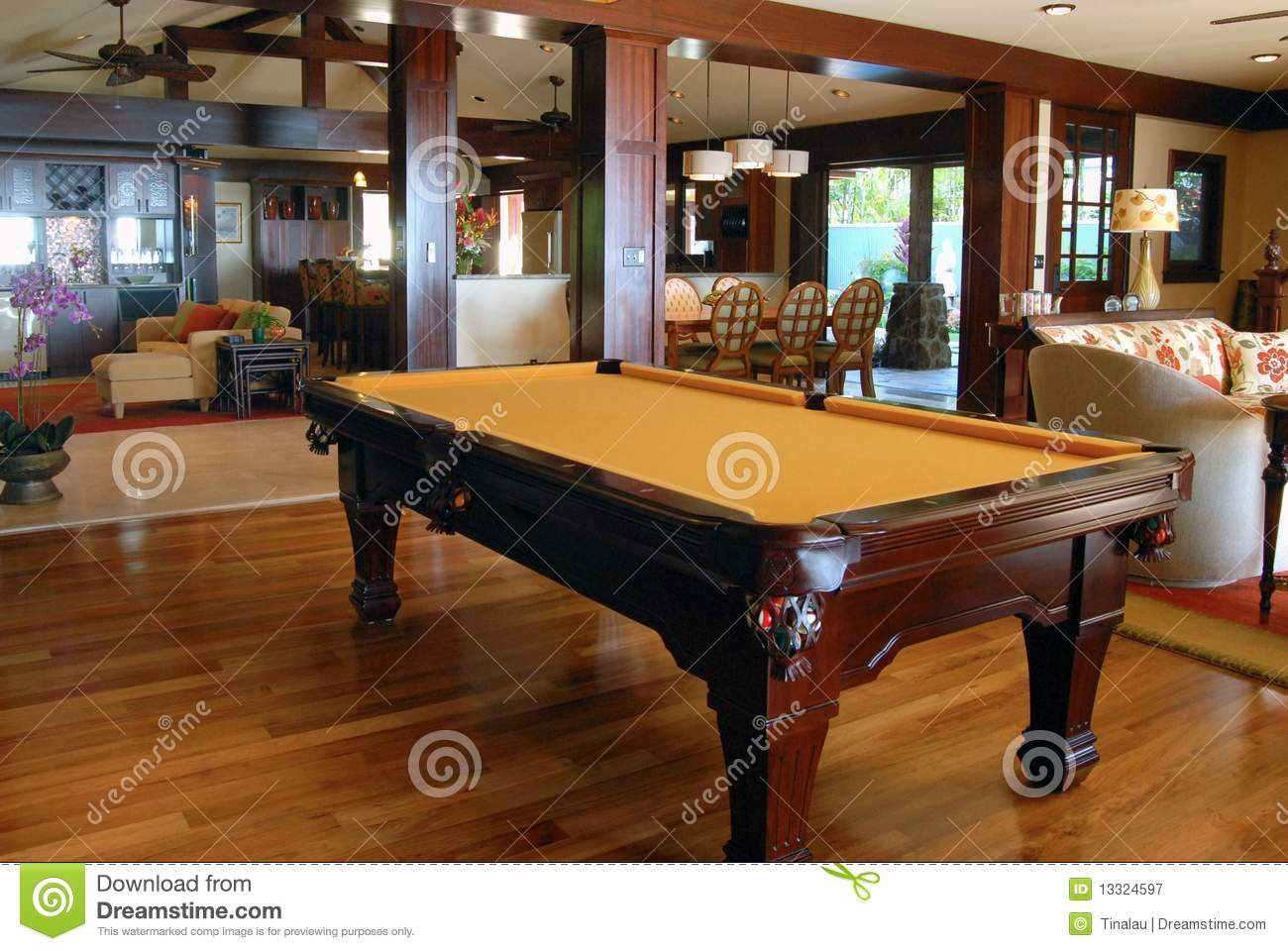 pool table in the living room royalty free stock