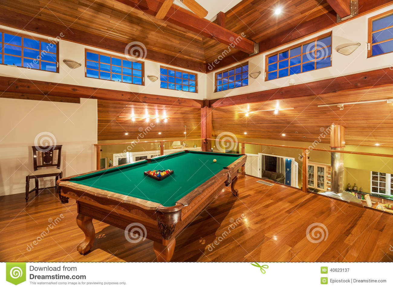 Pool table in luxury home stock photo image 40623137 - Pool table house ...