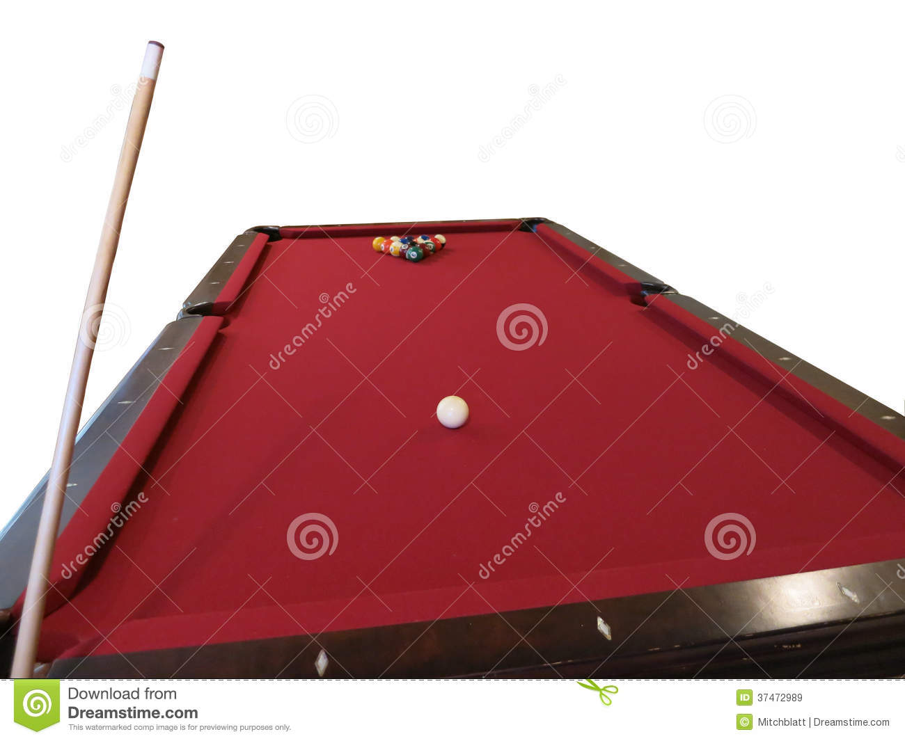 Pool Table Set Up For Break Isolated Royalty Free Stock Images