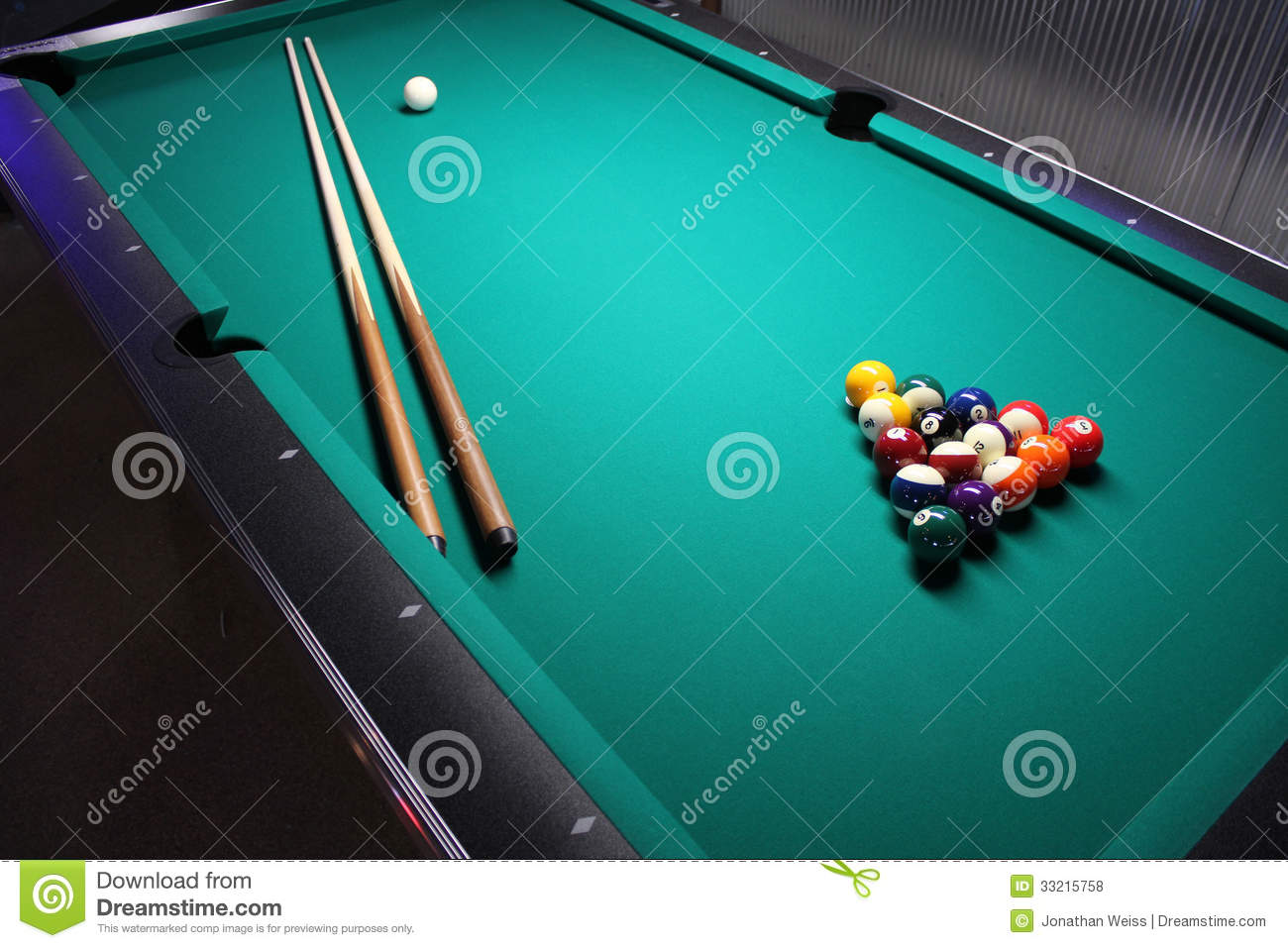 Pool Table Setup >> A Pool Table Set Up For A Game Stock Photo Image Of