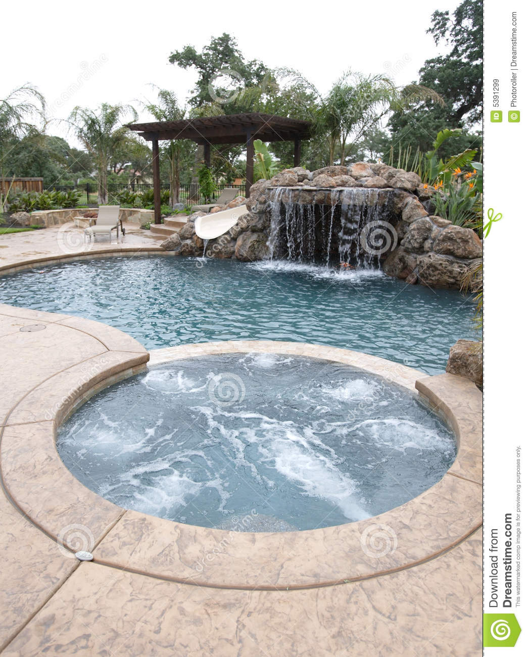Mansion Luxury Pools With Waterfalls: A Pool With A Waterfall In A Luxury Backyard Royalty Free