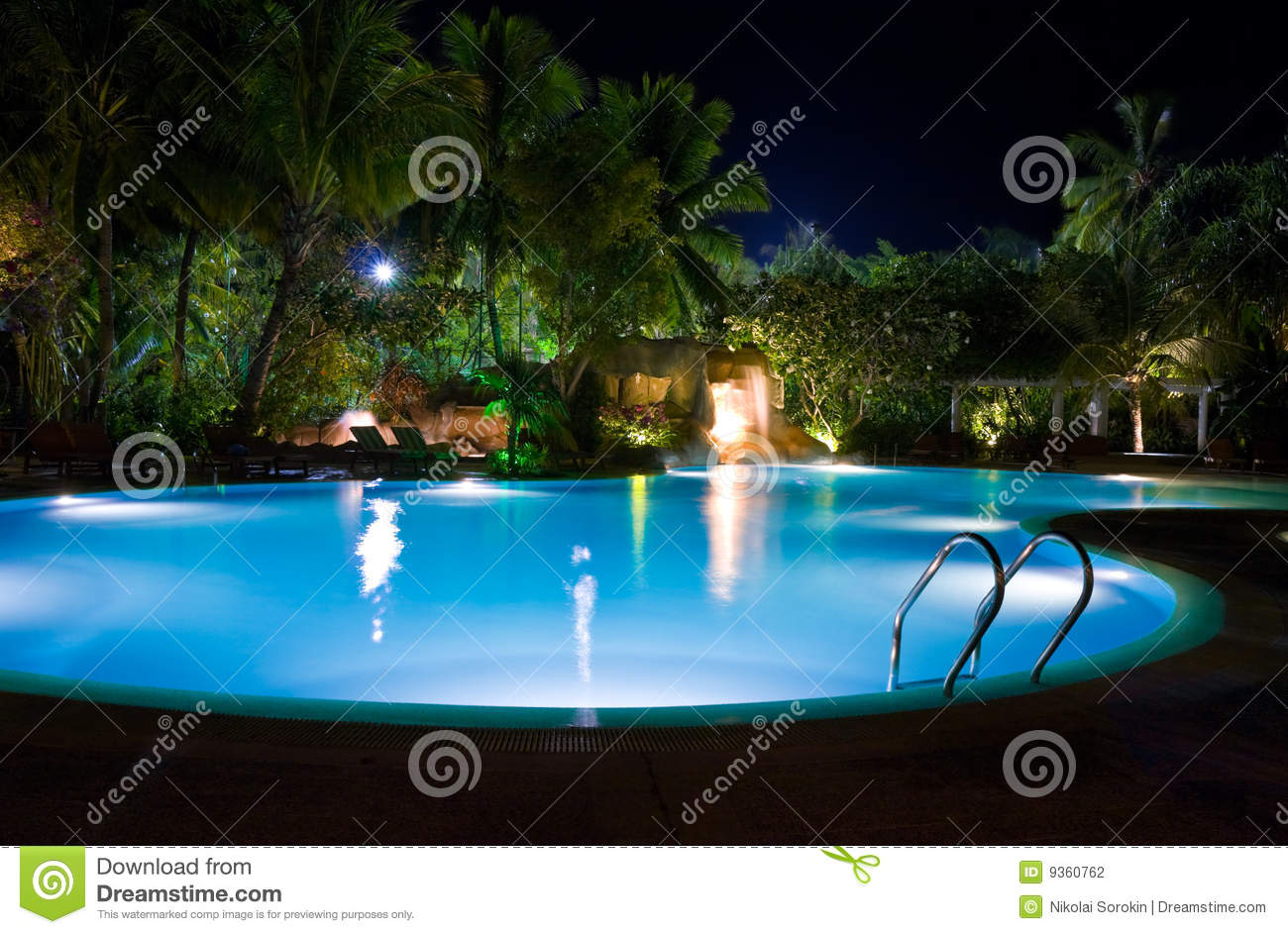 Pool And Waterfall At Night Stock Photography Image 9360762
