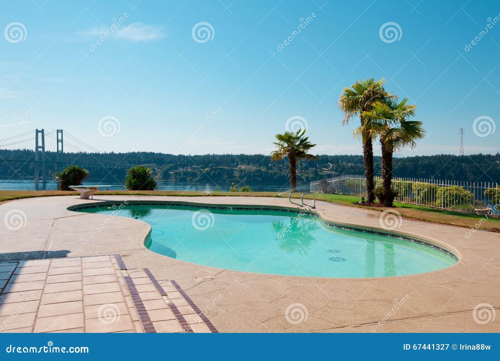 Pool zum Luxusufergegendhaus mit Palmen und eine Ansicht von Na