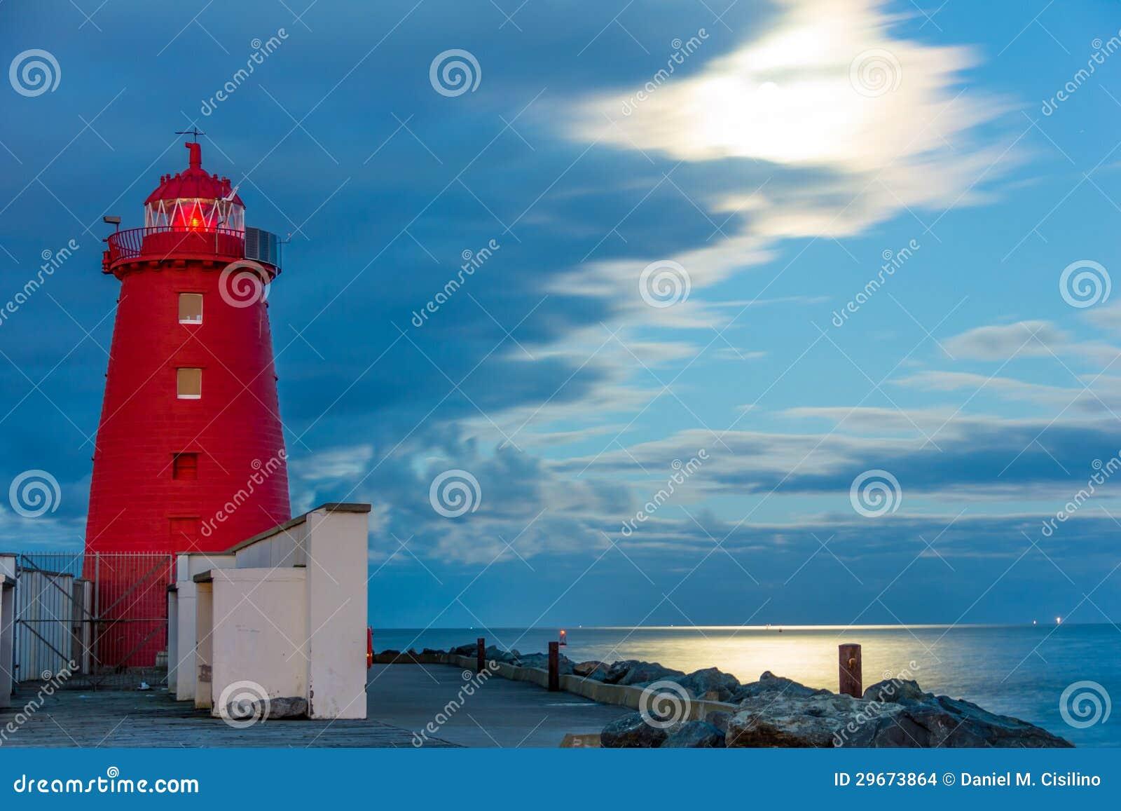 Poolbeg灯塔在晚上。 都伯林。 爱尔兰