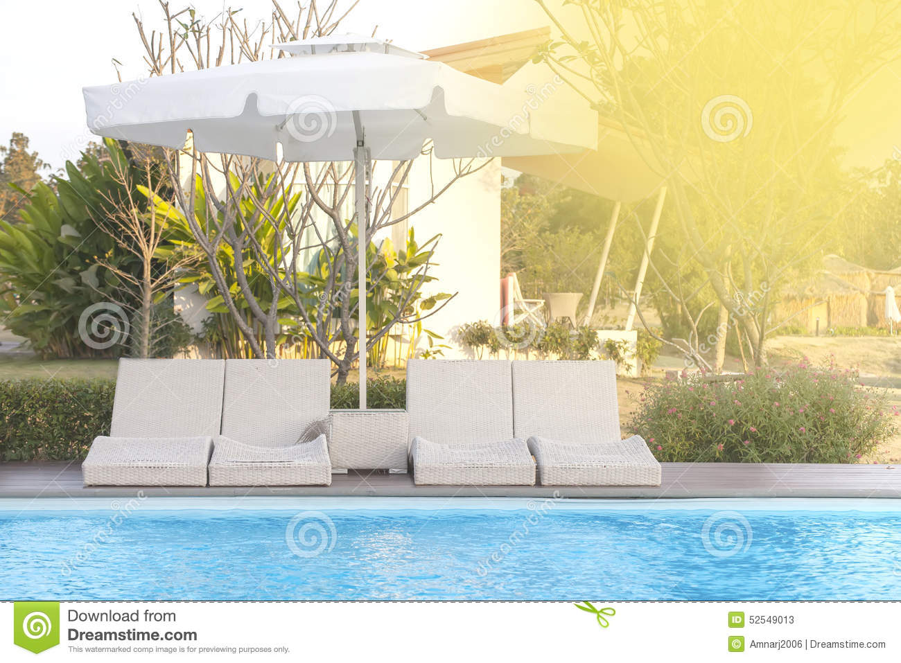 poolside bed stock image image of outdoor interior   - royaltyfree stock photo