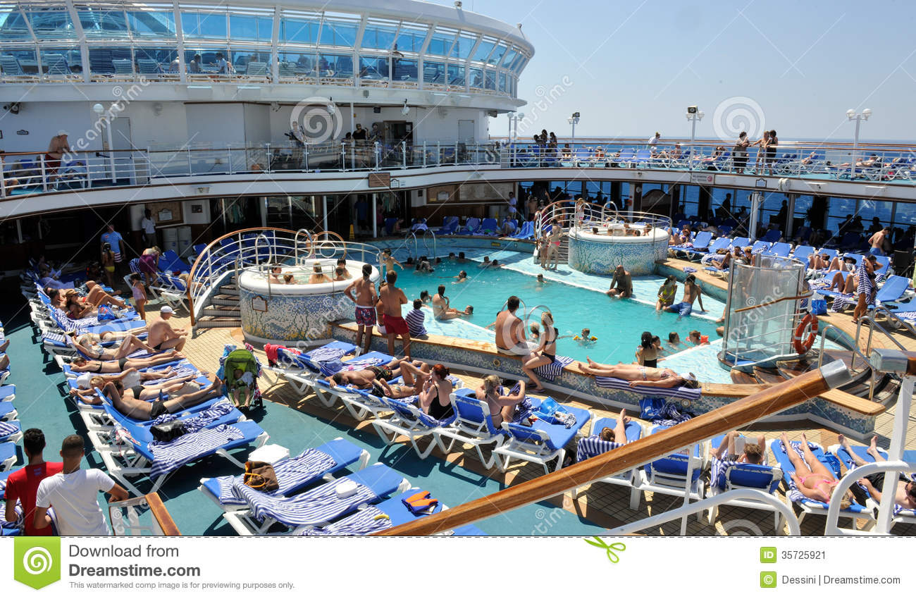 Poolside cruise ship editorial photo. Image of holiday ...