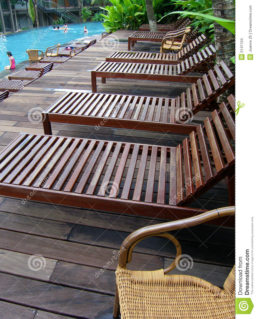 Poolside Deck Chairs Loungers Stock Images Image 5141104