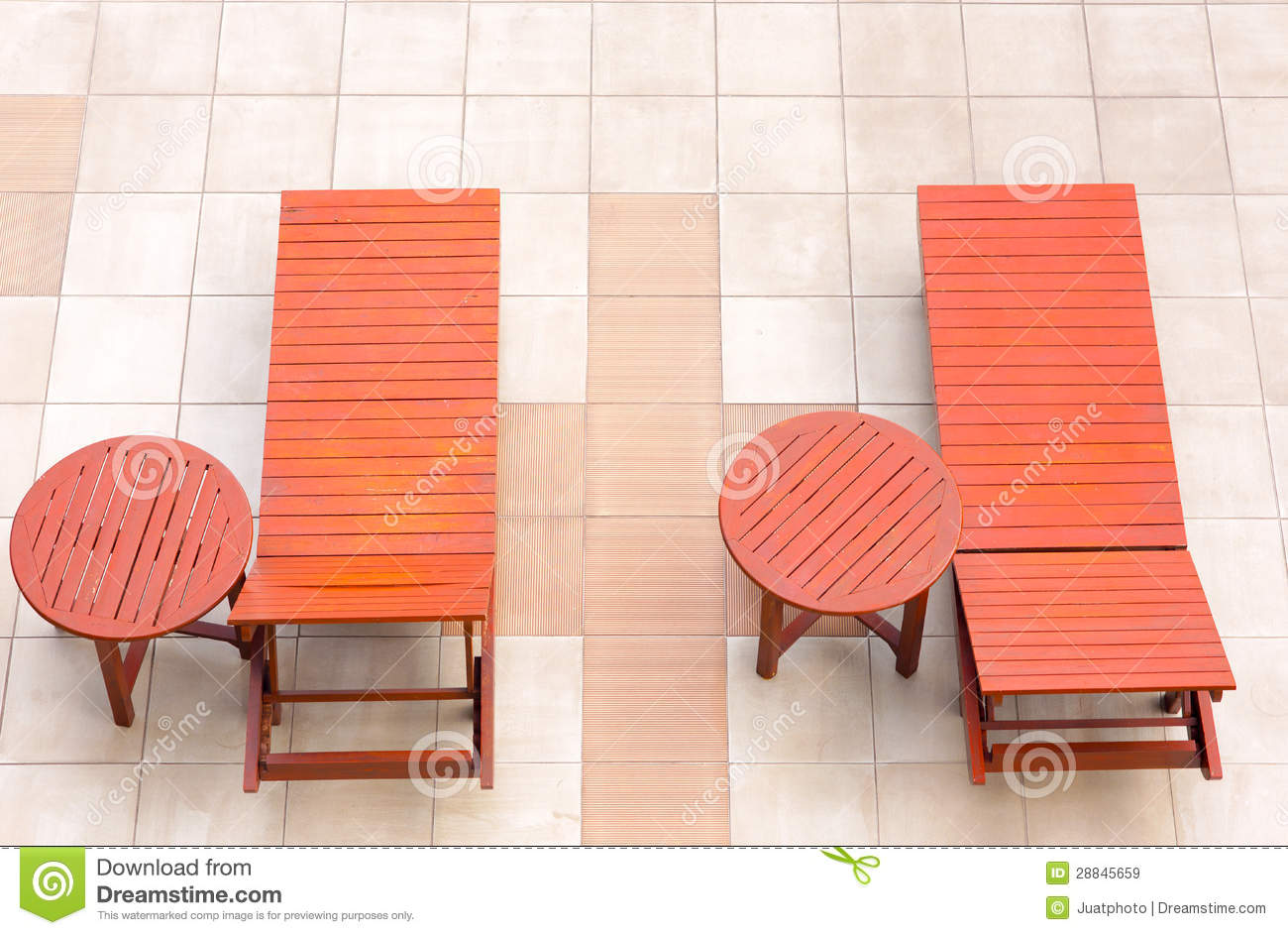 Poolside Deckchairs Alongside Blue Swimming Pool From Top ...