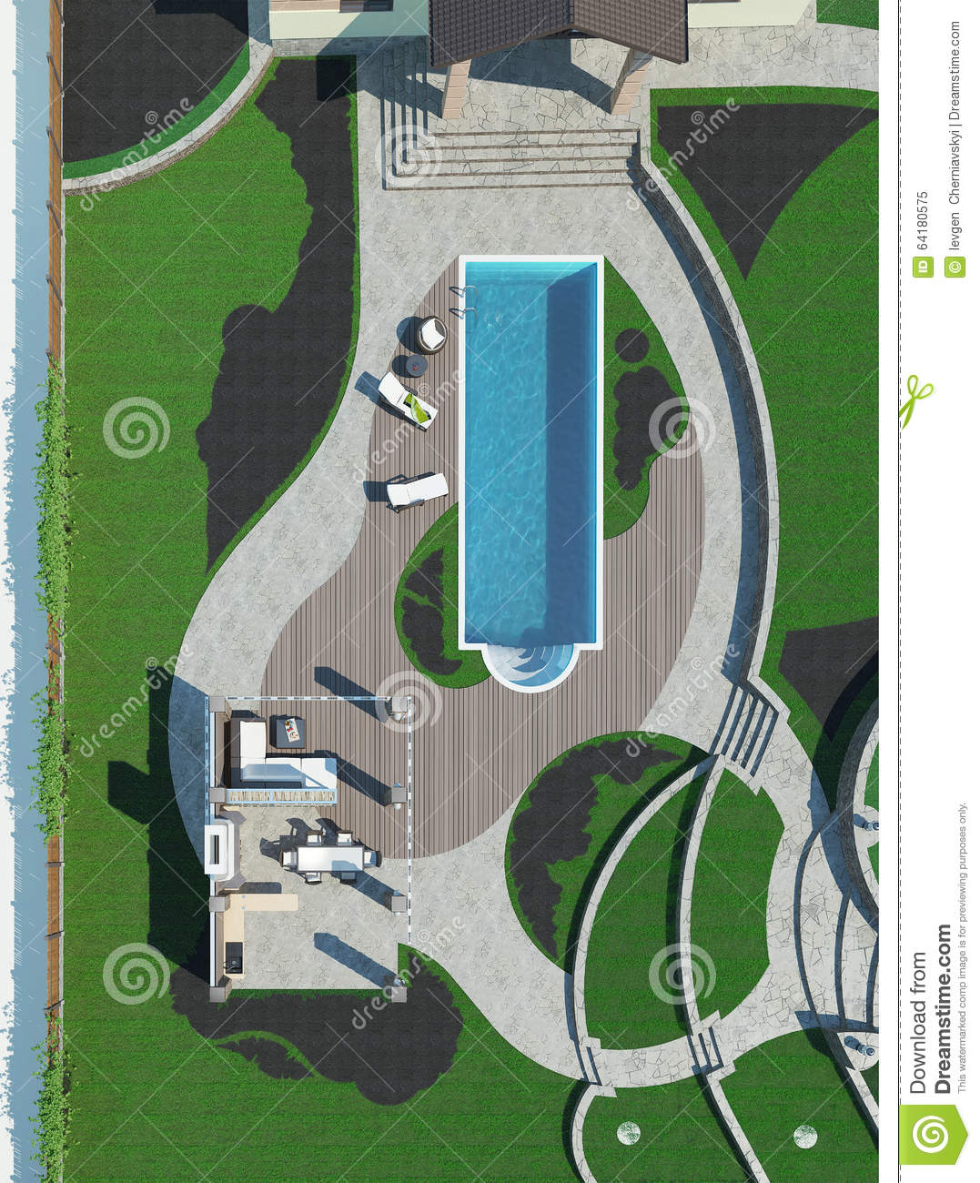 Site Plan Example: Poolside Master Plan, 3D Render Stock Illustration