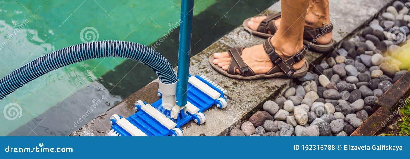 Poolvacuüm die flexibele slang op de poolbanner schoonmaken, LANG FORMAAT