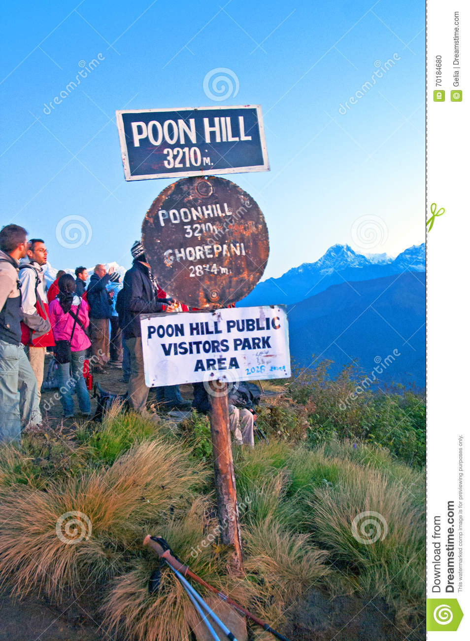 Poon hill altitude sign, Nepal