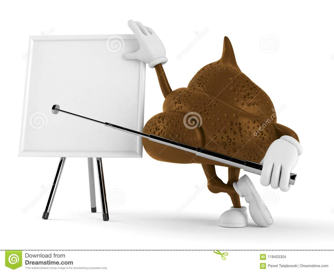 Poop character with blank whiteboard