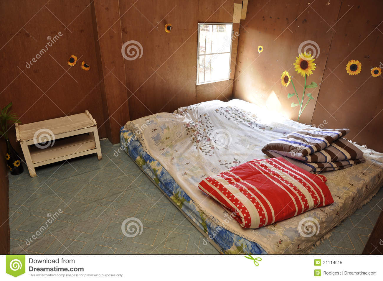 Poor Bed Room Brown Standard Royalty Free Stock Photo