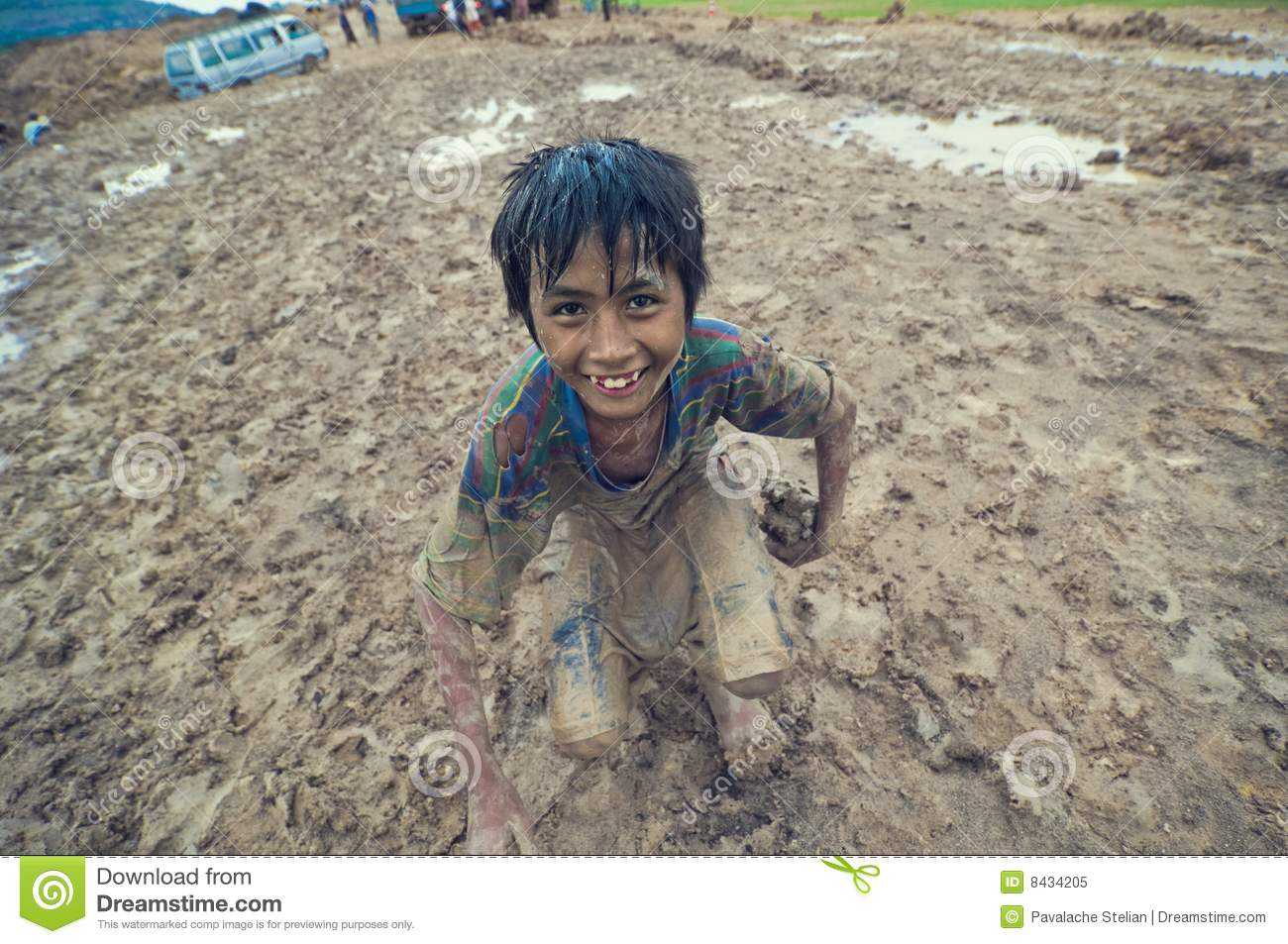 Naked cambodian kids Poor cambodian kid playing Royalty Free Stock Photo