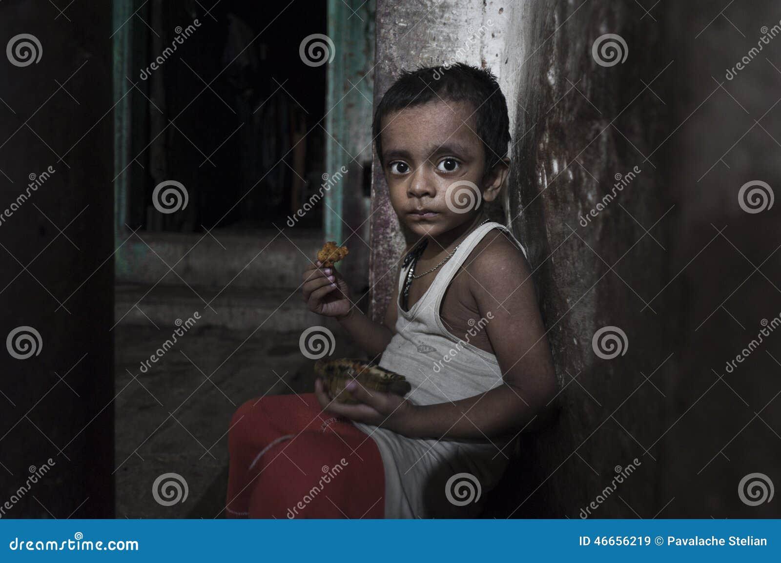Poor children from old Godaulia city. Varanasi. India