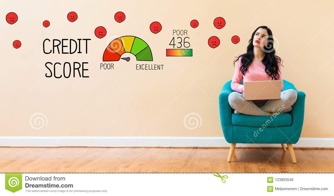 Poor Credit Score with woman using a laptop