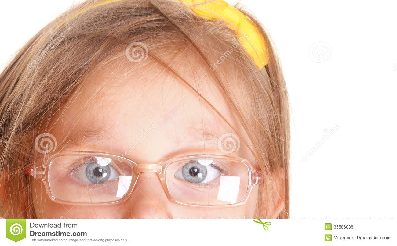 Poor Eyesight Girl Wearing Glasses Isolated On White ...