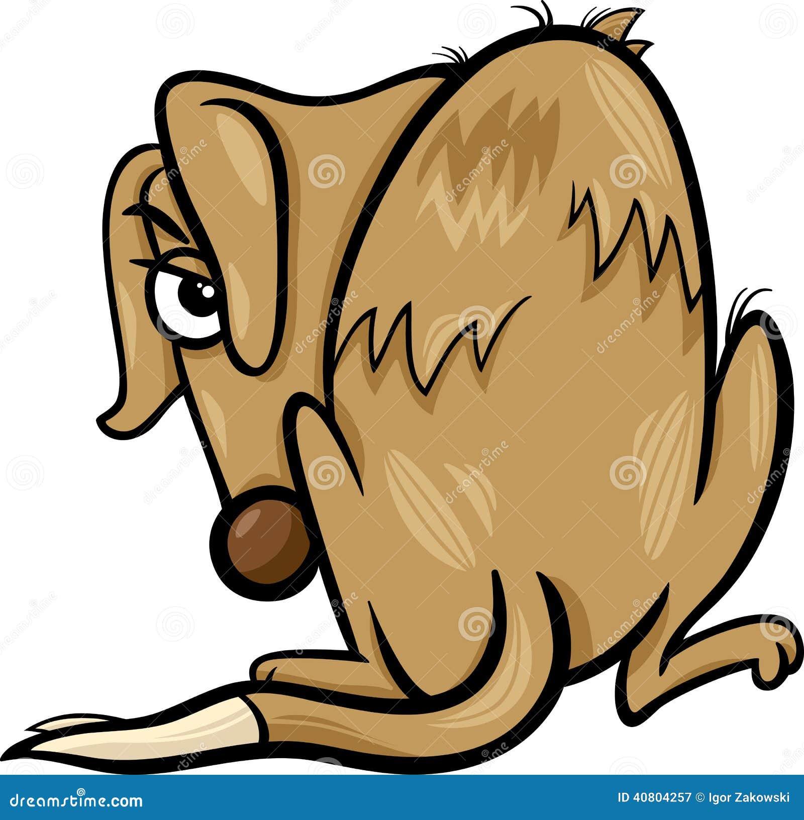 Poor Homeless Dog Cartoon Illustration Stock Vector - Illustration ...