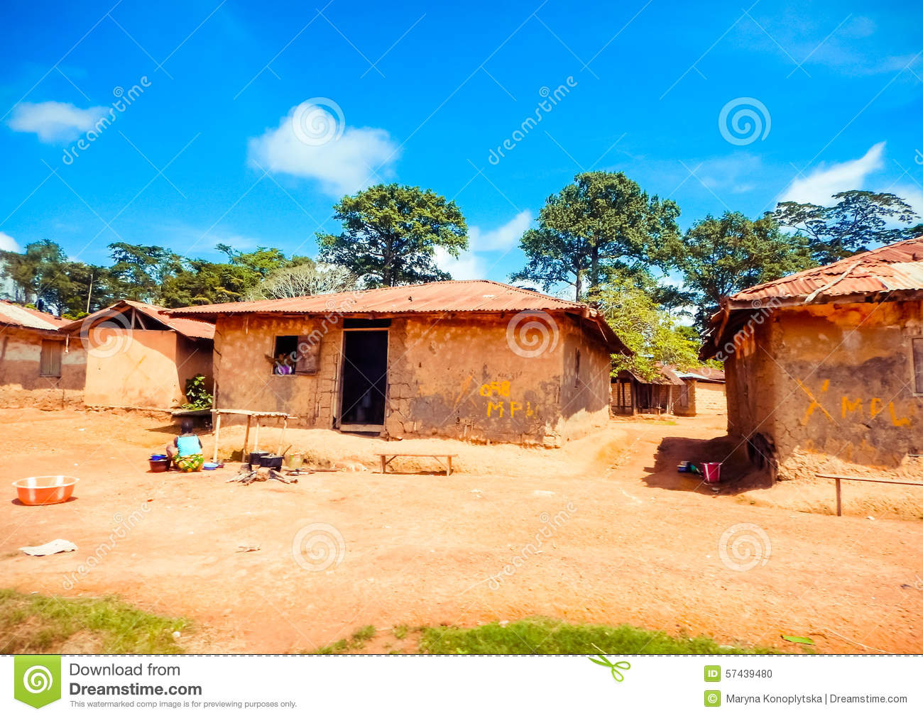 Poor housing the local population liberia africa stock for Liberia house plans