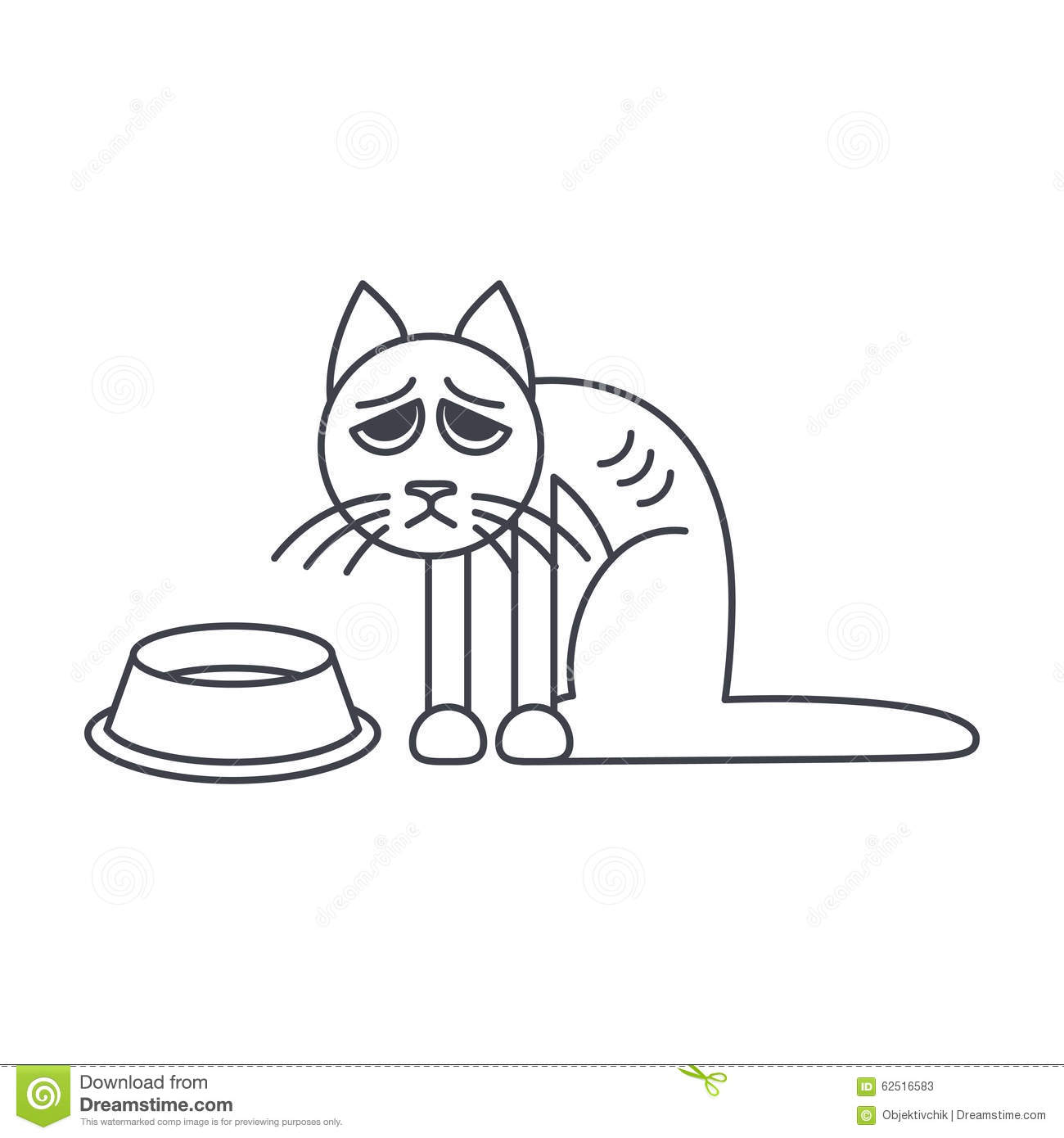 Poor Hungry Cat Line Icon Stock Vector Illustration Of Flat 62516583