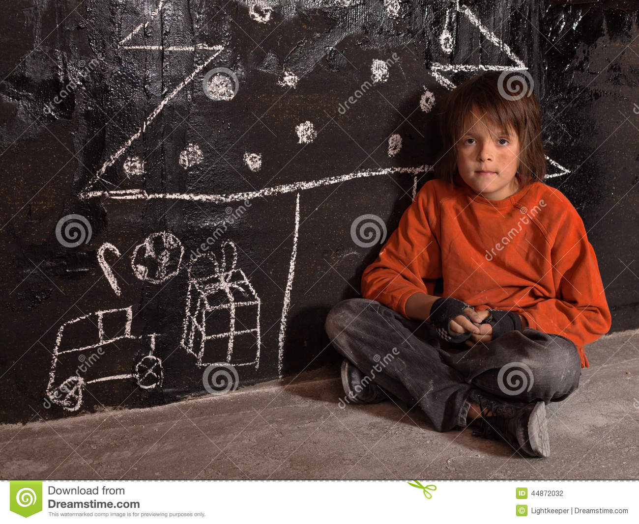 Poor Kid At Christmas Time On The Street Stock Photo - Image: 44872032