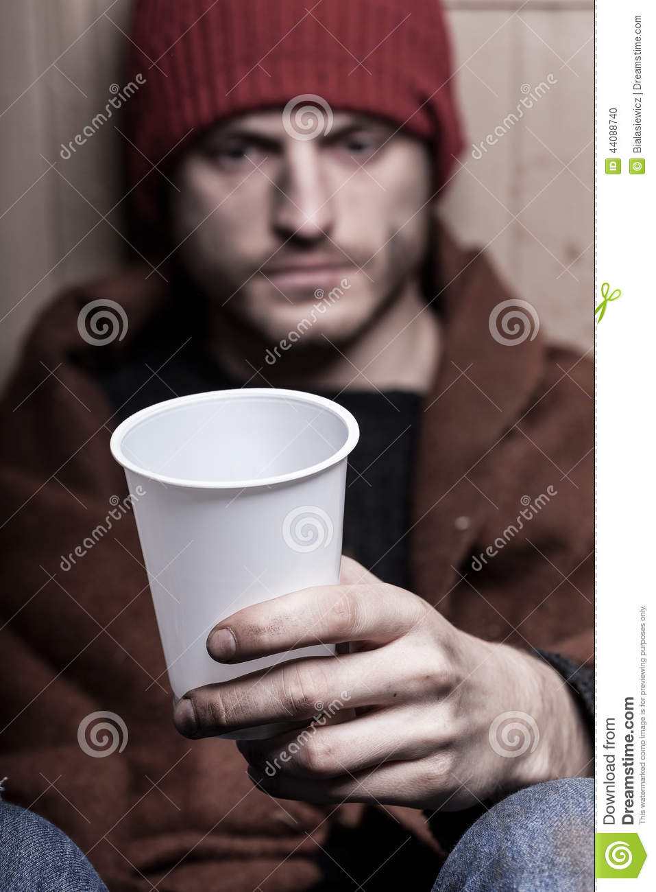 The Poor Man Asks For Money Stock Photo - Image of help
