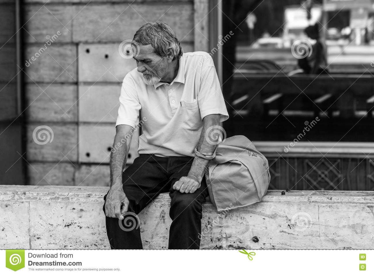 Poor Old Man Feeling Sad Editorial Image - Image: 79069515