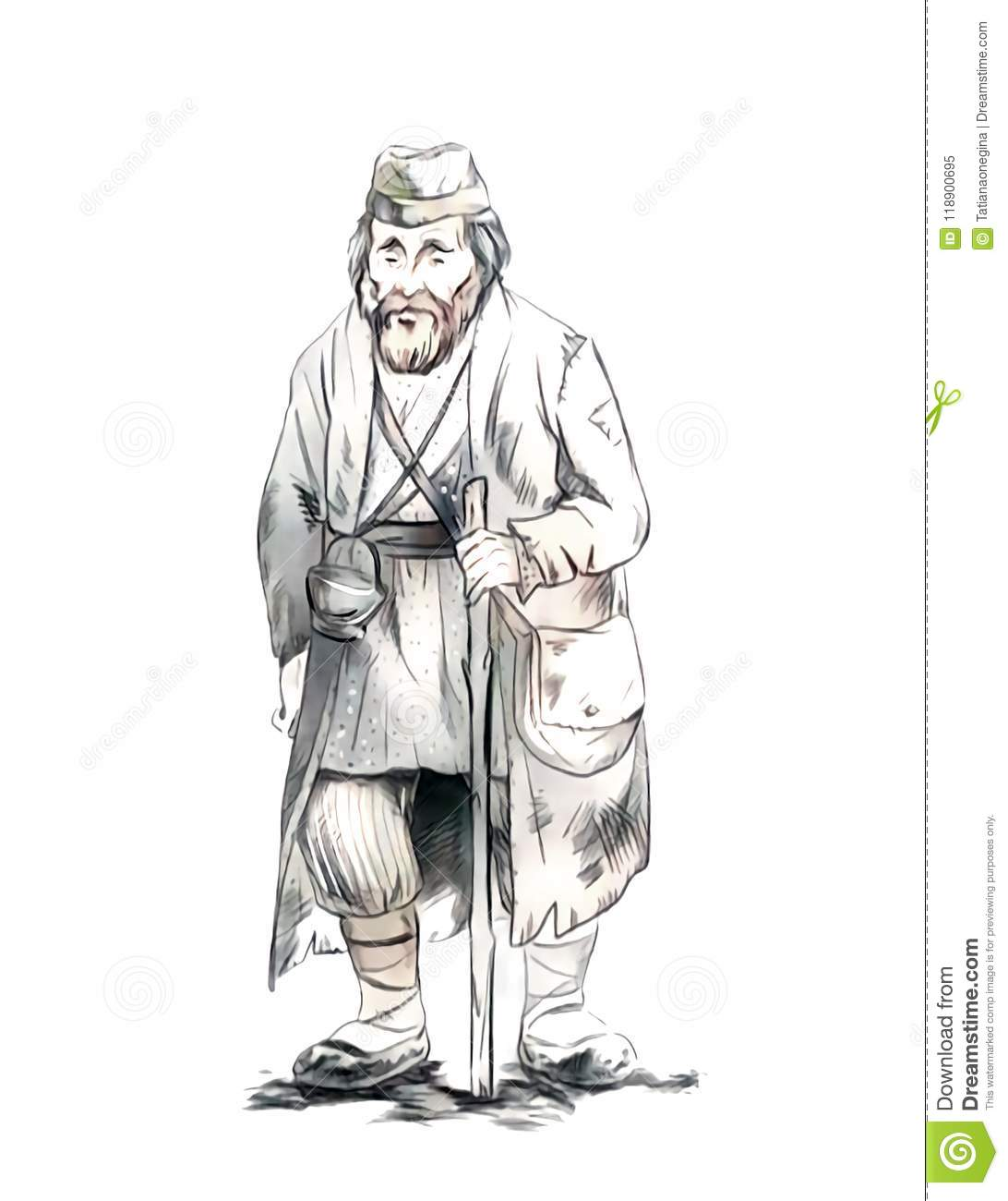 Graphic isolated sketch drawing of an old poor man walking slowly