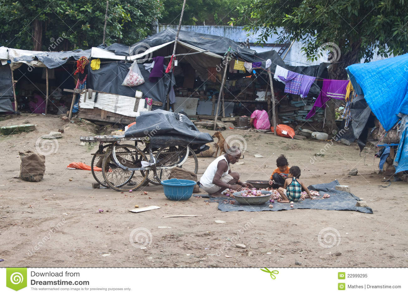 Poor people living in slum