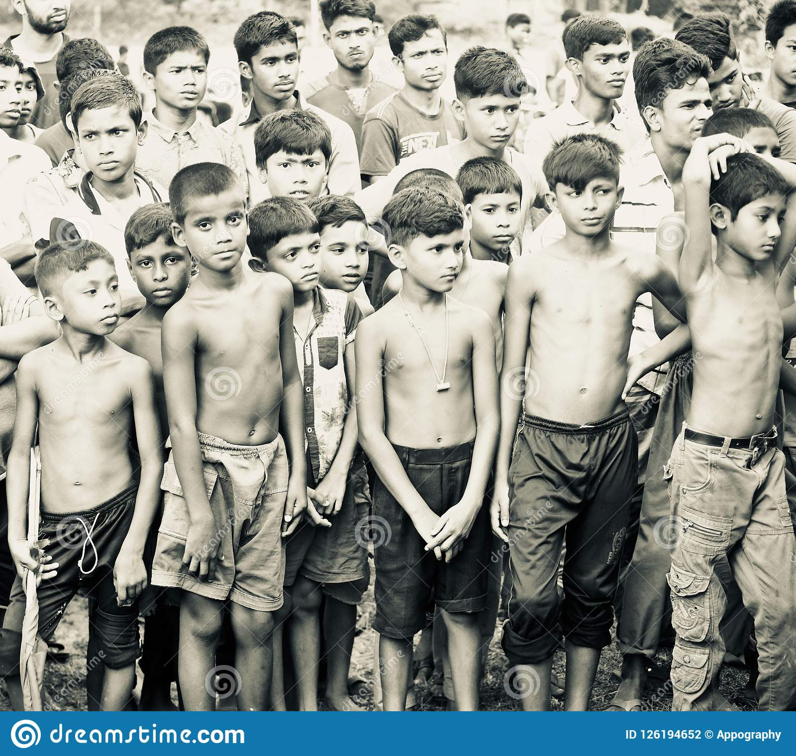 Bangladeshi group of children standing in a place unique photo