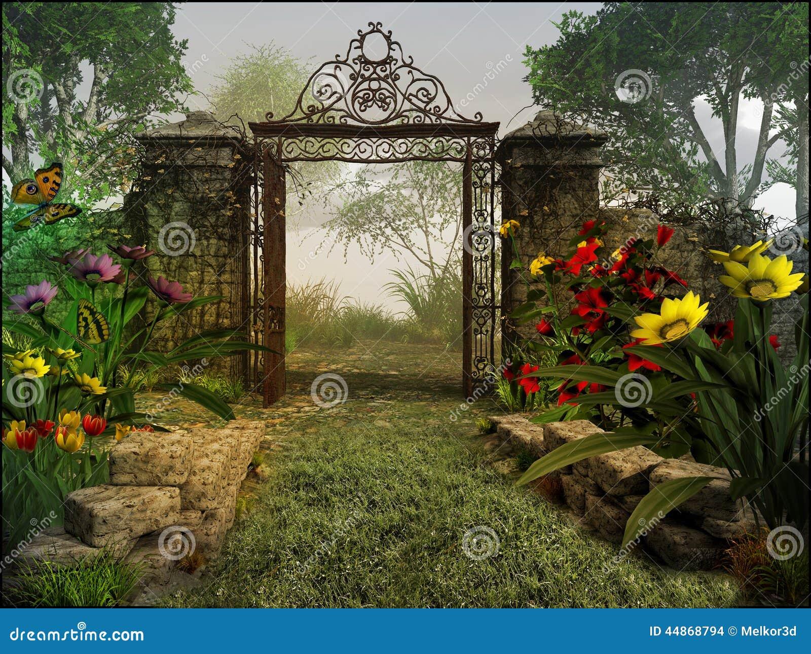 De Magische Tuin : Poort aan magische tuin stock illustratie illustratie bestaande