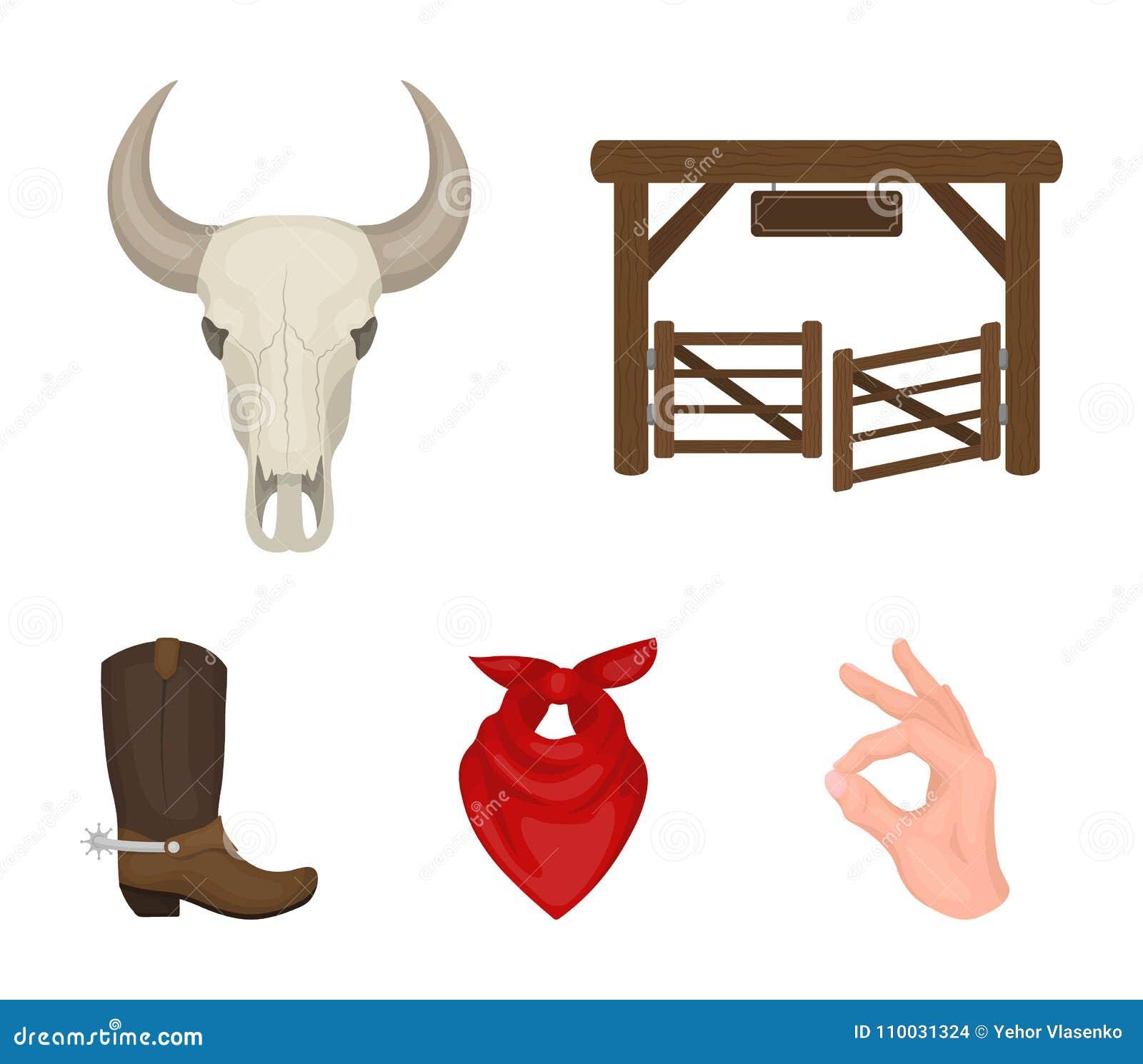 Poorten, een stieren` s schedel, een sjaal rond zijn hals, laarzen met aansporingen Pictogrammen van de rodeo de vastgestelde inz